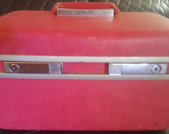 Vintage Pinkish-Red Royal Traveller Train Makeup Cosmetic Hard Case Mirror