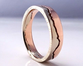 Mixed Gold Mountain Ring, 7mm band, Handmade with recycled Rose Gold & Palladium White Gold, Gold Wedding Band, Mountain wedding,