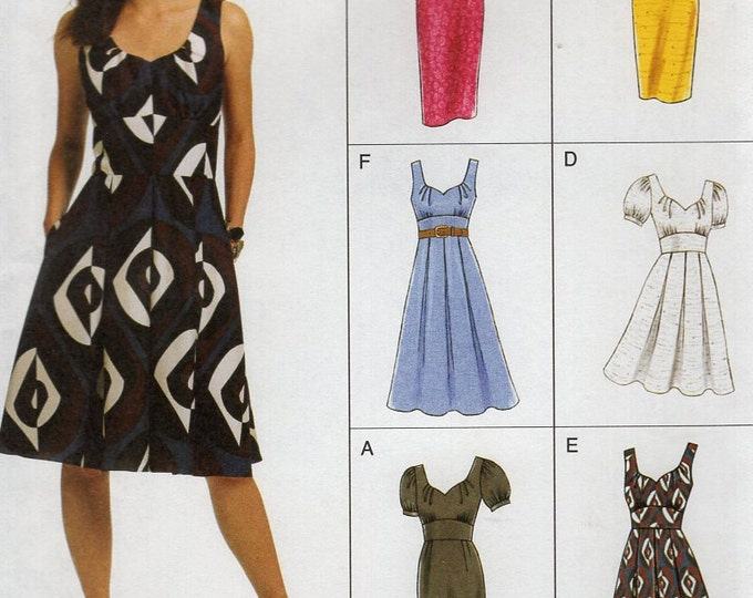 FREE US SHIP Vogue 8555 Easy Option Empire Dress 2009 Wiggle Full Dress Size 8 10 12 14,16 18 220 22 Bust 31 32 34 36 38 40 42 44 plus size