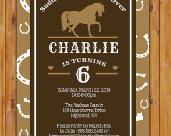 Horse Riding Party Birthday Invitation Horseshoe Western Themed Invite Browns DIY Printable JPG 5x7 (153-b2)