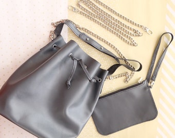 Leather Bucket Bag, Dark gray leather drawstring bag and mini bag with zipper in silver , Crossbody bag #014