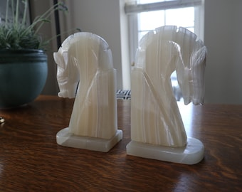 Onyx Estruscan horse head bookends - set of 2