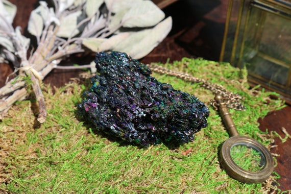 Carborundum Chunk 6.1 oz., Large Carborundum, Rainbow Crystal, Raw Silicon Carbide, Black Rainbow Crystal, Large Rainbow Crystal, Boho