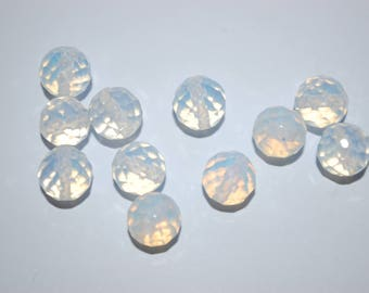 set of 10 beads round faceted opalite 6mm