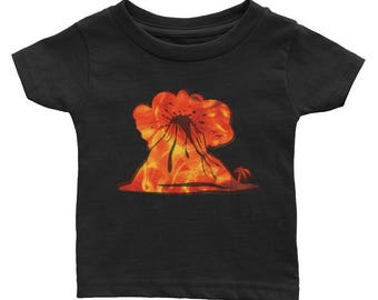 I Lava Volcanoes Infant Tee, Volcano Lover Geology Baby Shirt, Volcano Erupting, Magma Ash Orange, Yellow, Red Volcanic Rockhound Infant Tee