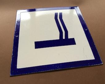 Vintage Enamel Sign Porcelain Designated Smoking Area 1970's