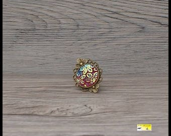 bronze iridescent color Adjustable ring red flower cabochon ring