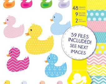 Rubber Duck Clip Art & Digital Paper Set, Rubber Duck Clipart, Rubber Ducky, Duck Digital Paper, Yellow Duckie, Yellow Ducks, CL0016