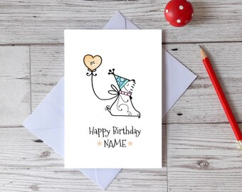 First birthday dog card, personalised Happy Birthday Westie greetings card, children's card, baby milestone card, toddler celebration card