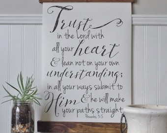 Trust in the lord with all your heart/proverbs 3:5-6/canvas art print/calligraphy sign/wall art/canvas print/wall decor/home decor