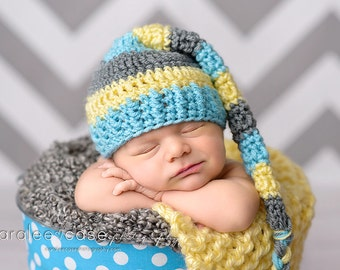 Elf Hat in Aqua, Pale Yellow, and Grey with Braided Tail
