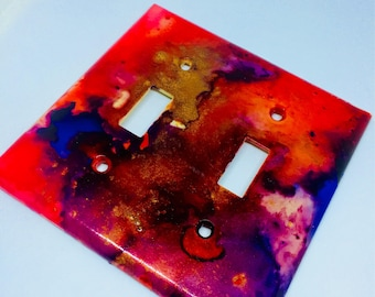 Watercolor Galaxy Double Light Switch Plate