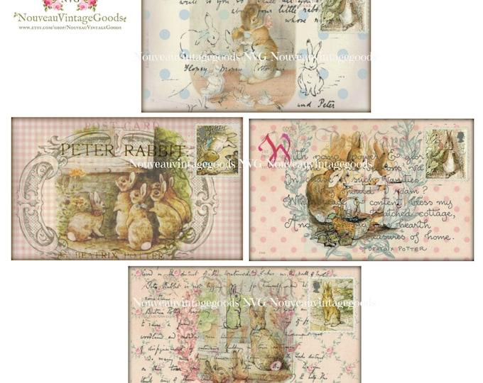 Shabby Chic Beatrix Potter Digital Bunnies,  Peter Rabbit Postcards, Digital Bunny Card Printable