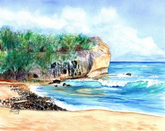 Shipwreck's Beach Hawaii, Shipwreck Art Print, 8x10 prints, Hawaii decor, ocean print, surf art, Kauai art, shipwreck beach hawaii, wave art
