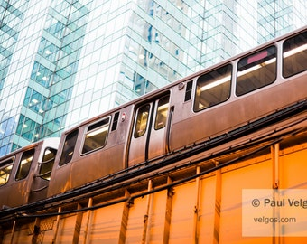 Chicago Train Art Print - Chicago L Elevated Train Black and White Photography - Large Canvas Prints, Oversized Home Decor, Metal Wall Art