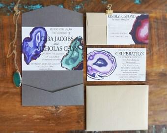 Modern Geode Wedding Invitation Suite
