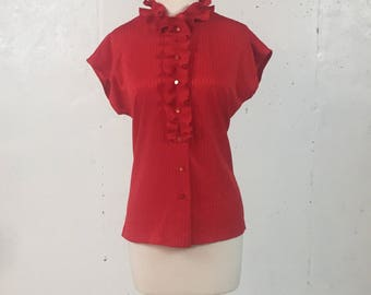 Vintage 1970s Copycats Red Blouse with Ruffle Collar Size Large