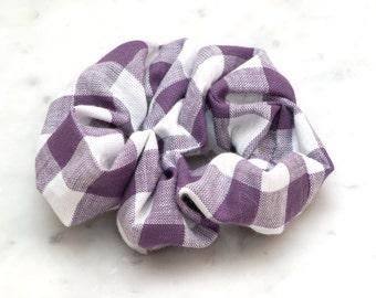 Purple White Checkered Hair Scrunchie - Handmade Scrunchy - Cotton Scrunchie - Cheerleader - Hair Accessories - Spring hair
