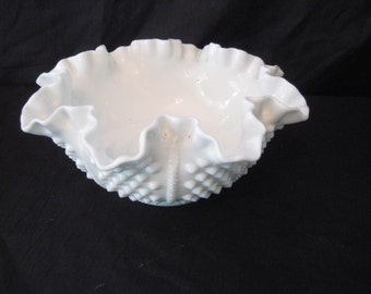 fenton milk glass bowl, White hob nob bowl, fluted bowl, mid century, collectible, candy nut bowl, shabby cottage chic decor,1024