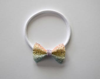 UNICORN Glitter TINY Bow Headband One Size fits All Adorable Photo Prop for Newborn Baby Little Girl Child Adult Headwrap Pretty Holiday Bow