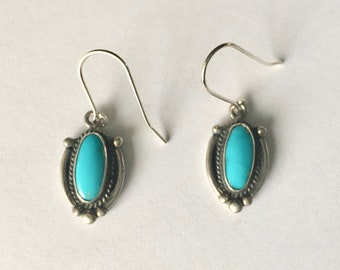 vintage sterling upcycled turquoise earrings
