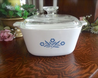 Corning Ware Casserole Dish, P-1 3/4-B, Vintage Corning Ware Baking Dish, One And Three Quarter Qts, Cornflower Dish, Stovetop Baking Dish
