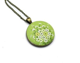Gift-for-wife Boho-necklace Boho-pendant Polymer clay jewelry Polymer clay necklace pendant Fashion jewelry Floral pendant necklace