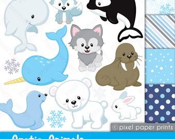 Arctic animals - Clipart and paper set