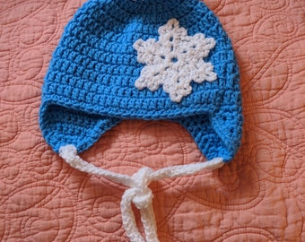 Adorable Crocheted Toddler Hat with Earflaps, Snowflake & Pom-Pom    1-3 years