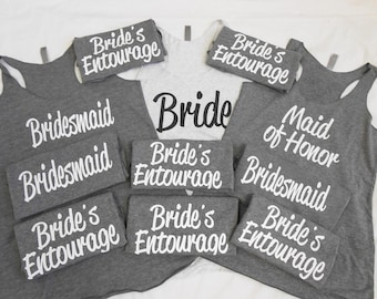 14 Bridesmaid Tank Tops, 14 Bachelorette Party Tanks, 14 Bridal Party Tank Tops, Set of 14 Tank Tops, 14 Bridesmaids, Cute Flowy Tank Tops