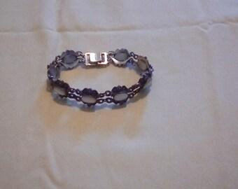Sterling SILVER VINTAGE Bracelet Opal & Marcasite