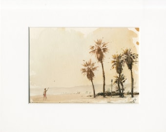 5x7 original watercolor of beach