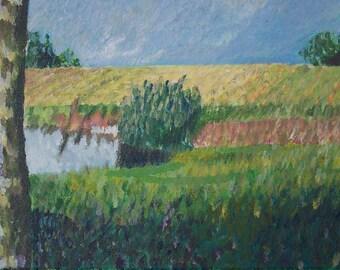 Title: Landscape Savoie. Handmade acrylic painting. Modern. Horizontal size. Impressionistic art. Lot of colourkeys. Original painting.