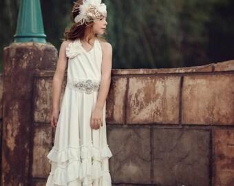Flower girl dress, boho flower girl dress,rustic off white flower girl dress , flower girl dresses, beach wedding flower girl dress,headband