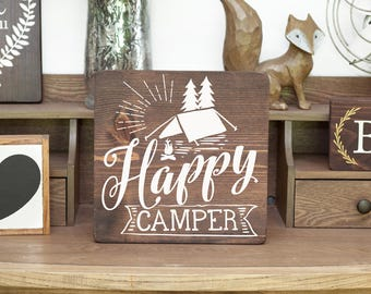 Happy camper sign Camping sign Camp sign RV sign RV living Great outdoors Camper sign Campground Wood camping sign Campsite sign RV camping
