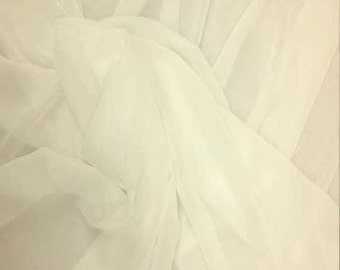 "JN00124 Cream Color Chiffon Sheer Soft Smooth Lightweight Deep Drape Fashion Home Decor 58/60"" Fabric By The Yard"