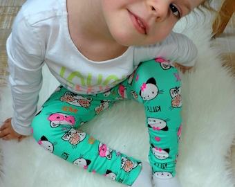 Baby girl leggings preemie to 4 years old cats, green, pink, orange