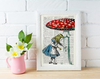 Alice in wonderland wall art- Going home -gift, Alice decor dictionary art print Lewis Carroll Print, girls room ALW016