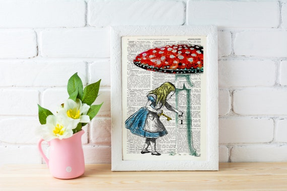 Alice in wonderland wall art- Going home -gift, Alice decor dictionary art print Lewis Carroll Print, girls room ALW016
