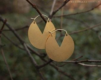Raw Brass Disc Hoop with Triangular Cutout
