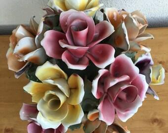 Capodimonte Italian Porcelain Flower Bouquet