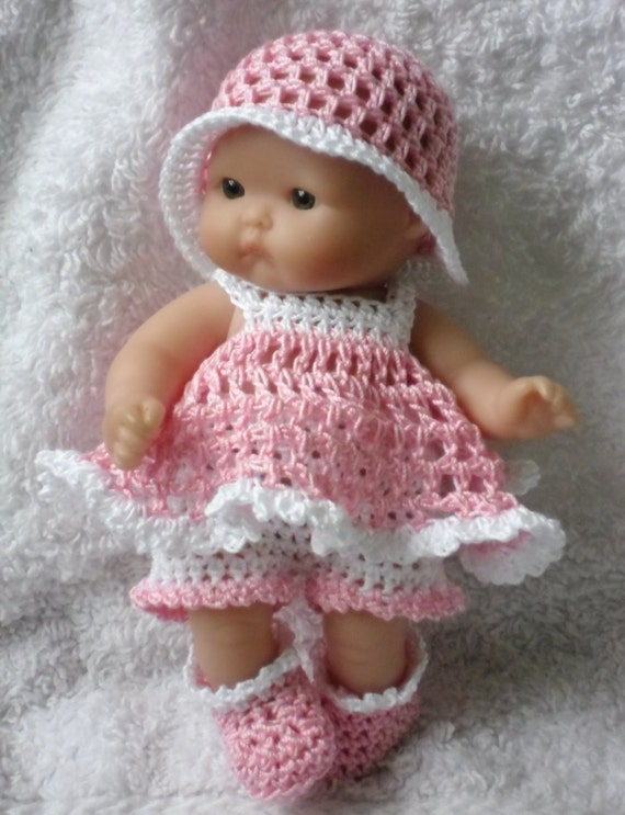 Crochet pattern for berenguer 5 inch baby doll dress crochet pattern for berenguer 5 inch baby doll dress shorts hat and bootie set dt1010fo