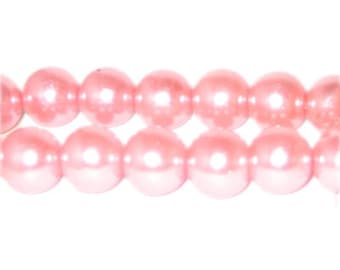 12mm Salmon Glass Pearl Bead, approx. 18 beads