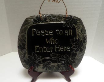 hand carved SCRAFITTO ceramic WALL Plaque, Blessing, housewarming gift, OOAK