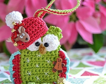 Crochet pattern - christmas owl ornament by VendulkaM/ DIY, pdf