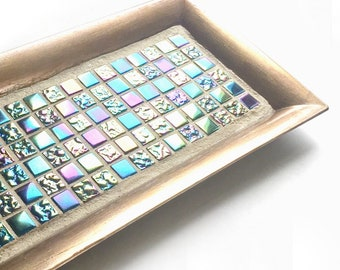 Gold Blue Green Iridescent Mosaic Tile Tray, Iridescent Glass Vanity Tray, Mosaic Candle Tray, Mosaic Candle Stand, Dresser Caddy