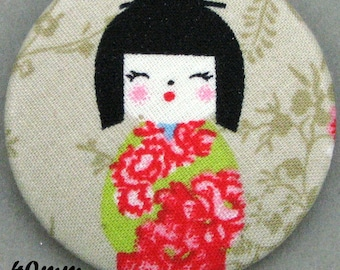 Fabric covered button - Kokeshi - Japanese doll - 40mm-(40-02)
