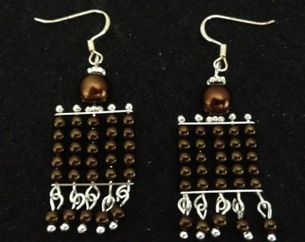 Root Beer Brown Glass Pearl Dangle Earrings