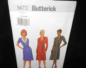 Misses dress Butterick 3672 Womens 12 14 16 A line wrap fitted