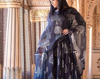 Cotton Anarkali With Doriya Dupatta